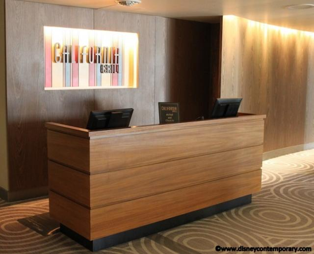 Check in desk at California Grill