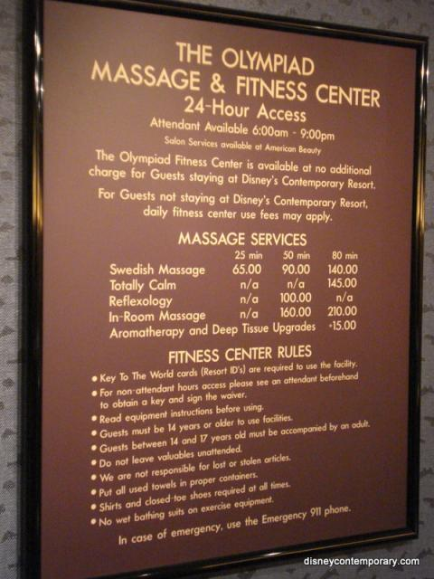 Fitness Center sign and rules